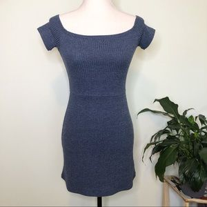Obey Heather Blue Ribbed Off The Shoulder Dress XS